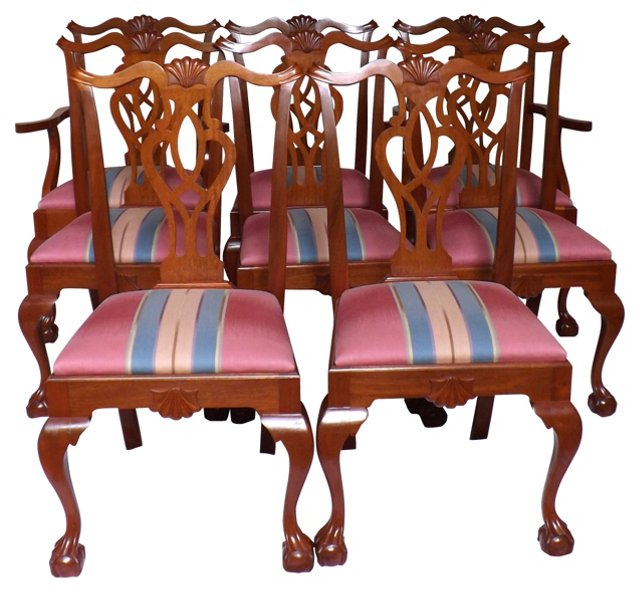 Walnut Chippendale-Style Chairs, S/8