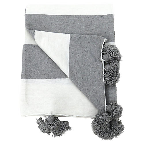 White & Gray Cotton Pom-Pom Blanket