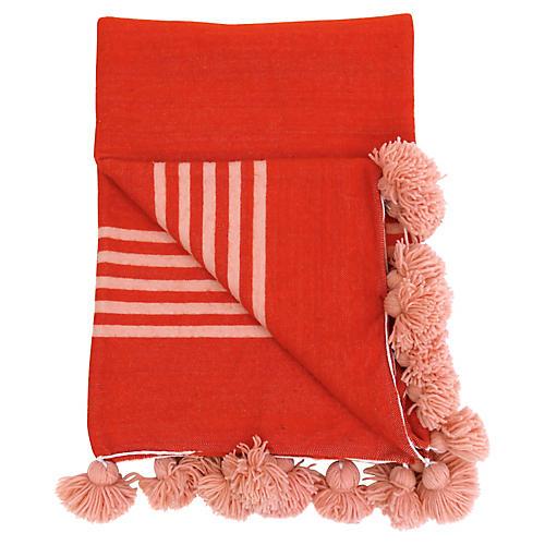 Moroccan Blood Orange Pom Pom Blanket