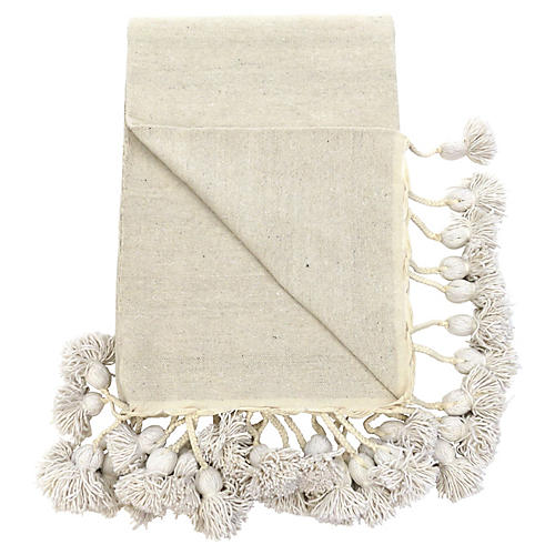 Natural Moroccan Cotton Pom Blanket