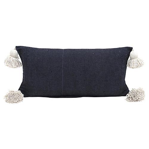 Black Cotton Pom Pom Pillow