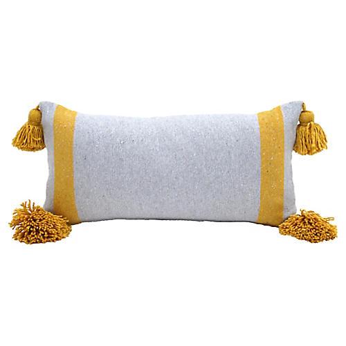 Gray & Gold Cotton Pom Pom Pillow