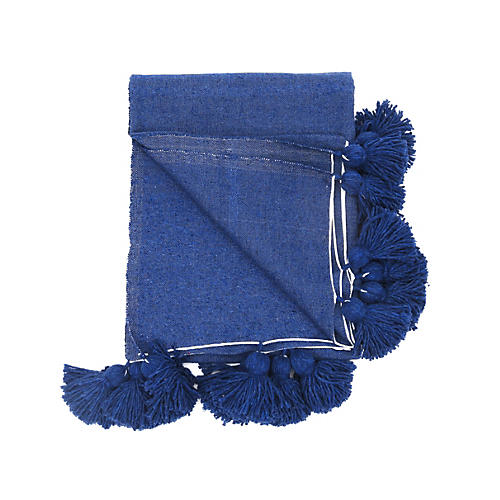 Indigo Cotton Pom Pom Blanket