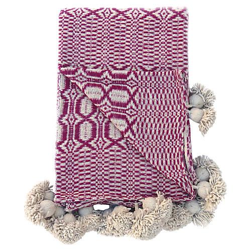 Handwoven Cotton Pom-Pom Blanket