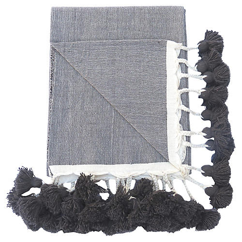 Gray Braided Pom-Pom Blanket