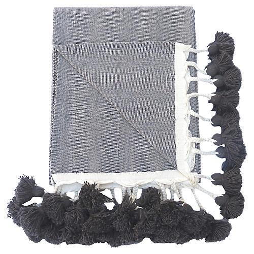 Taupe Braided Pom-Pom Blanket