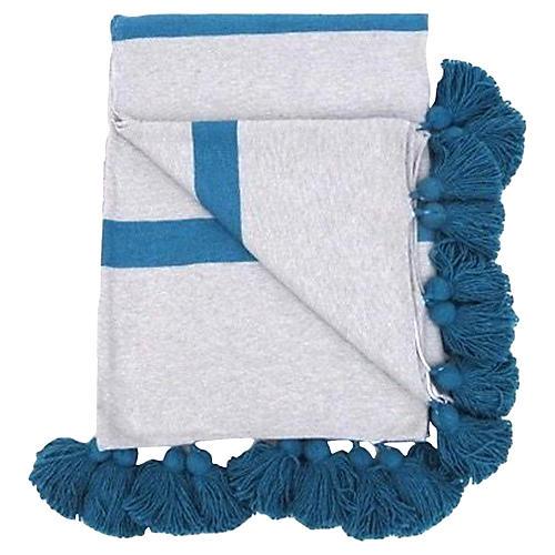 Gray & Turquoise Pom-Pom Blanket