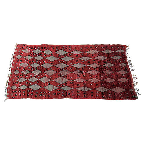 Blood Red and Grey Vintage Talsint Rug