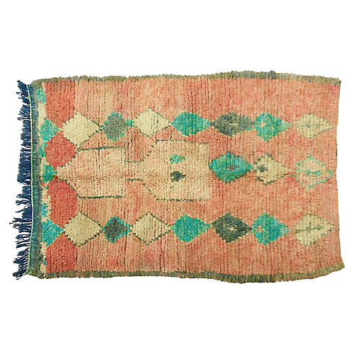Vintage Apricot and Turquoise Rug