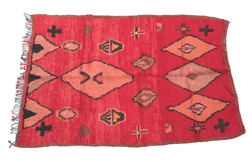 Silky Red Vintage Boujad Moroccan Rug