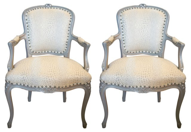 Silver Animal Print French Chairs, Pair
