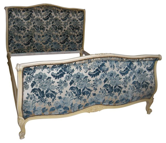 French Cut-Velvet Painted Bed, Full