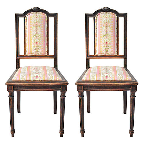 French Louis XVI-Style Chairs, Pair