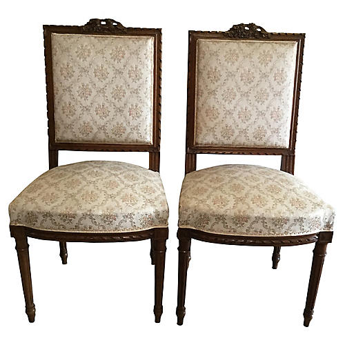 Louis XVI-Style Side Chairs, Pair