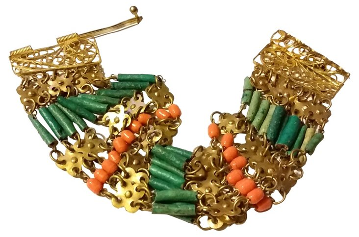 1920s Egyptian Faience Bracelet