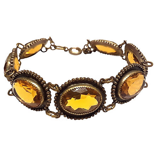 Edwardian Amber Glass Bracelet