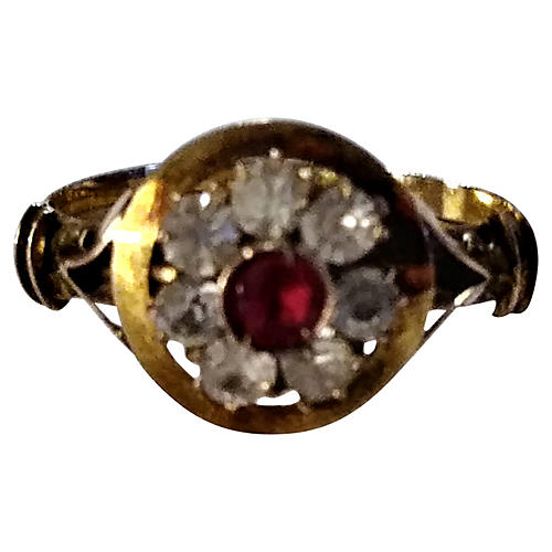 12K Gold Antique Ruby Ring