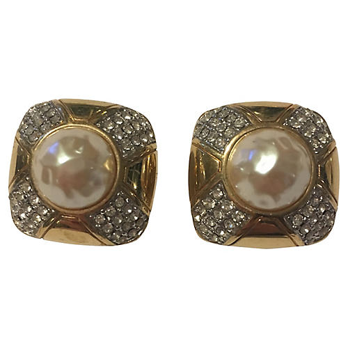 Givenchy Pavé Faux-Pearl Earrings