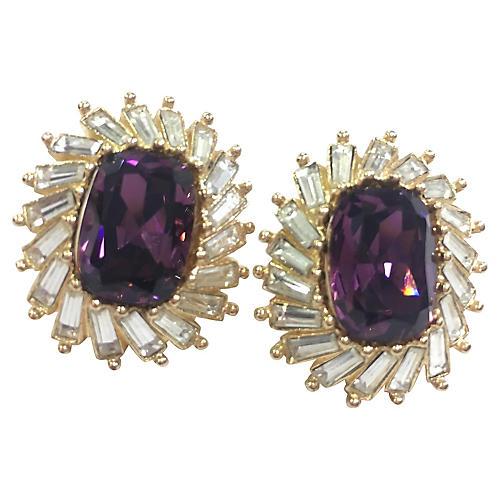 Dior Purple Crystal Earrings