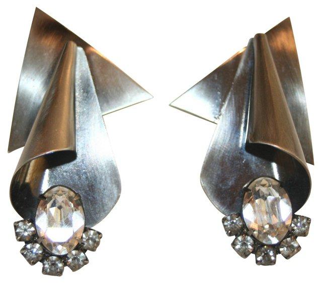 Gunmetal & Crystal Earrings