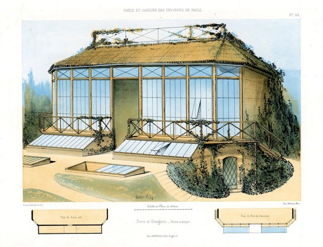 French Garden Print, Greenhouse, 1861