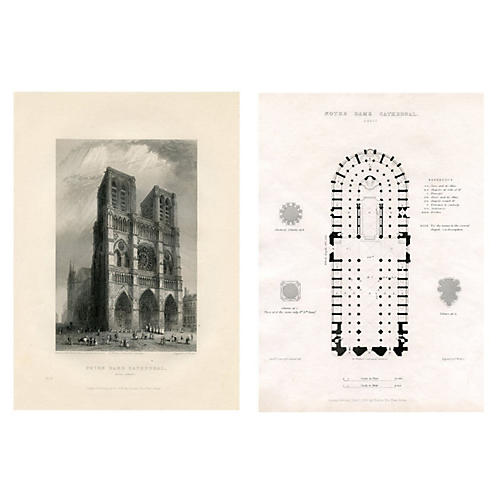 Notre Dame Cathedral Prints, Pair