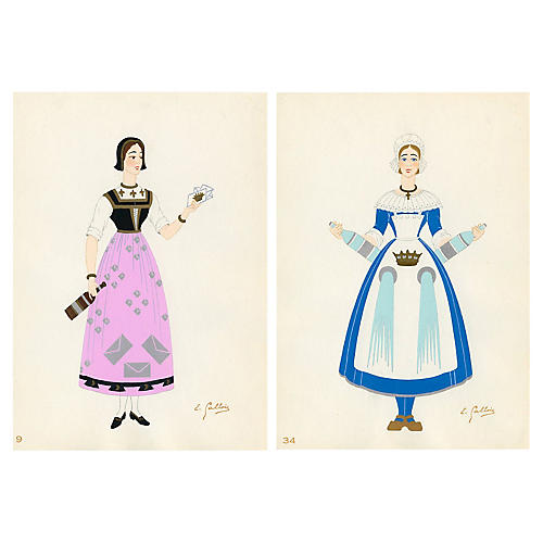 French Provincial Costumes Diptych