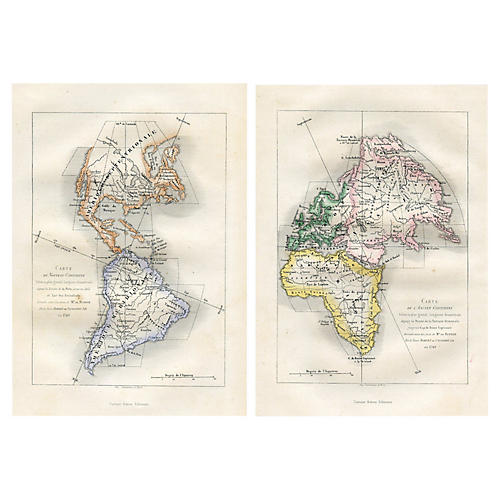 1880s Maps of the Continents, Pair