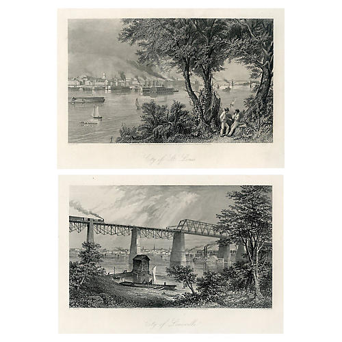 Mississippi and Ohio River Views, Pair