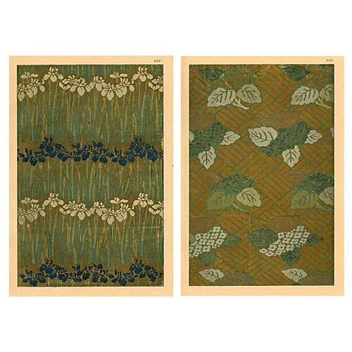 Japanese Brocaded Silk Designs, Pair