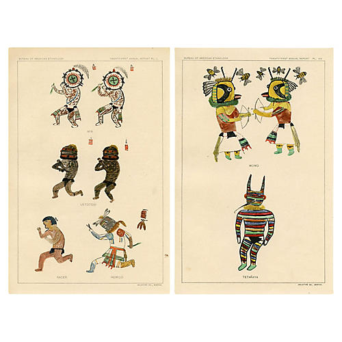 Hopi Indian Kachina Prints, Pair