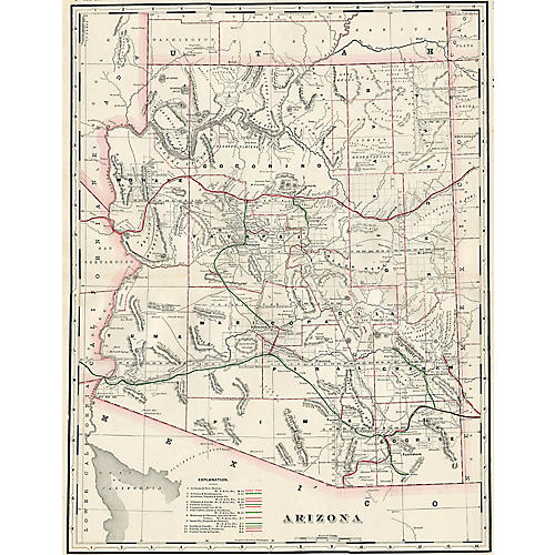 Arizona Railroad Map, 1897
