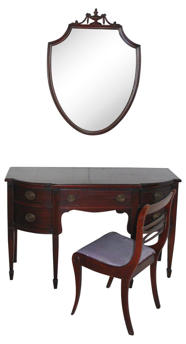 Hepplewhite Desk Suite, 3 Pcs