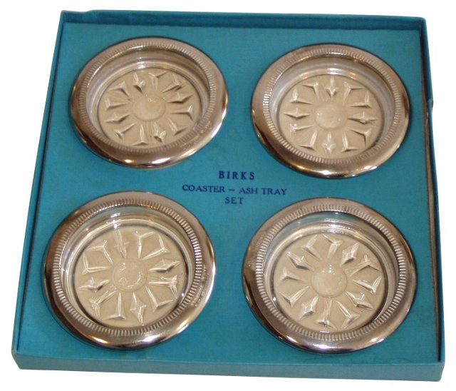 Vintage Coasters in Box, S/4