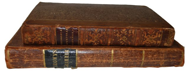 19th-C. Leather Books, Pair
