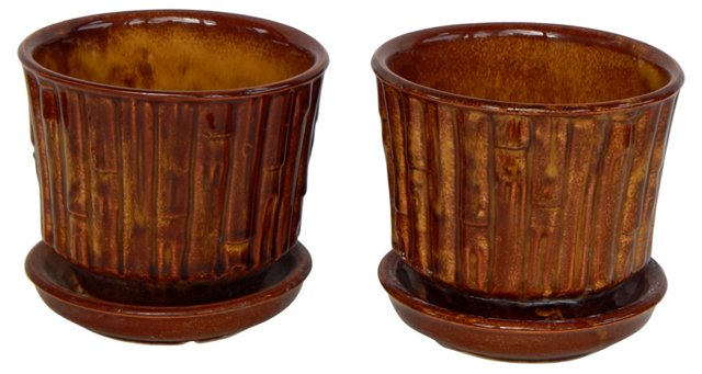 McCoy Bamboo-Style Flower Pots, Pair