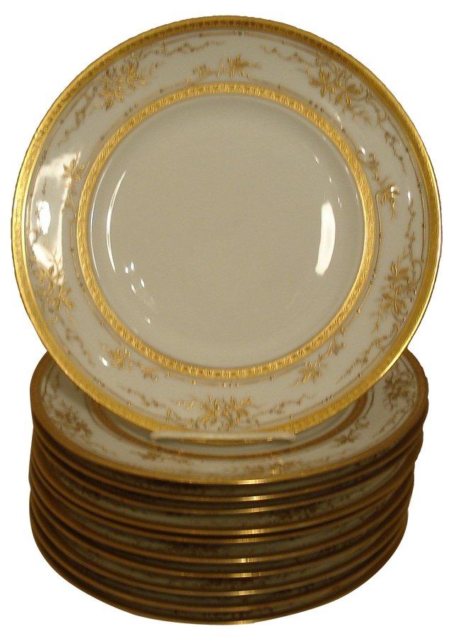 Limoges Gilt Encrusted Plates, S/10