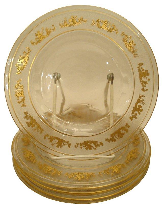Antique Gilt Glass Plates, Set of 6