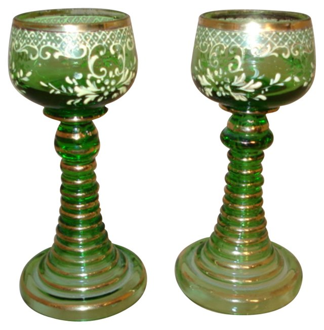 Antique Emerald Gilt Cordials, Pair