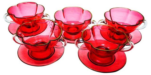 Dessert Cups & Saucers, S/5
