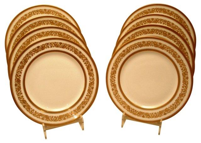 Limoges Gilt Dinner Plates, S/8