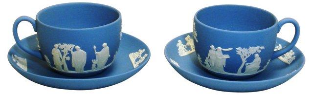 Wedgwood Jasperware Cups & Saucers, Pair