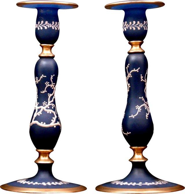 Tall Blue Nautical Candlesticks, Pair