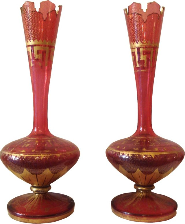 Antique Moser Ruby Gilt Vases, Pair