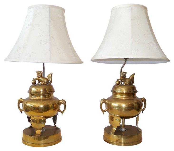 Brass Foo Dog Lamps, Pair