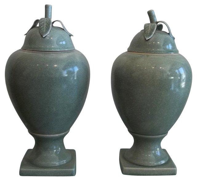 Celadon Crackle Ginger Jars, Pair