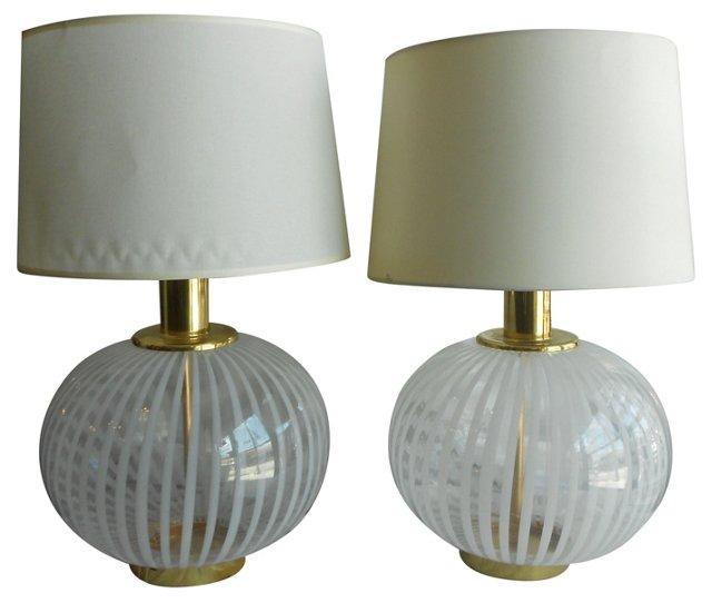 Italian Glass Swirl Lamps, Pair