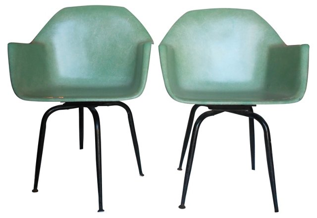 Midcentury Fiberglass Chairs, Pair
