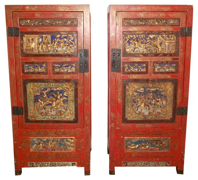 Chinese Carved Museum Cabinets, Pair