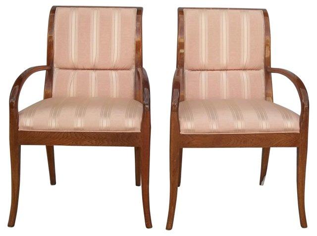 Henredon Upholstered Armchairs, Pair